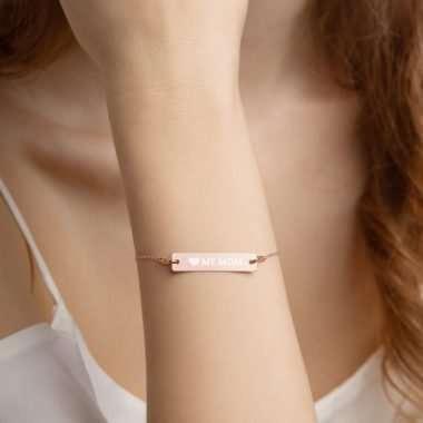 engraved silver bar chain bracelet 18k rose gold coating women 6065f4115f157