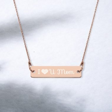 engraved silver bar chain necklace 18k rose gold coating lifestyle 2 607c512ec7adc