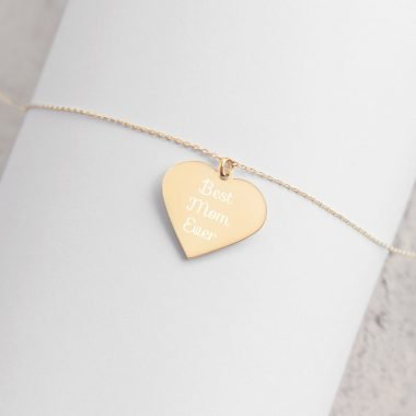 engraved silver heart chain necklace 24k gold coating lifestyle 2 6065ef6bb14fc