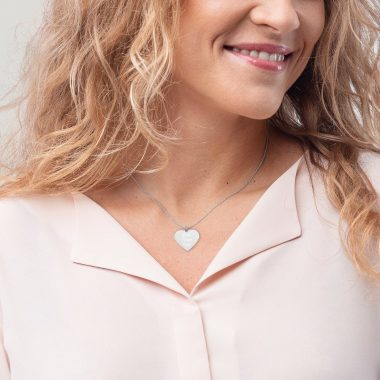 engraved silver heart chain necklace white rhodium coating womens 4 6065ef6bb158f