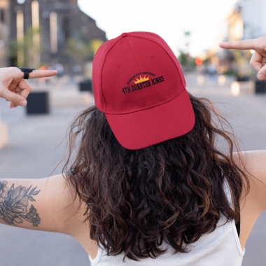 mockup of a tattooed woman in the street pointing at her dad hat 27038