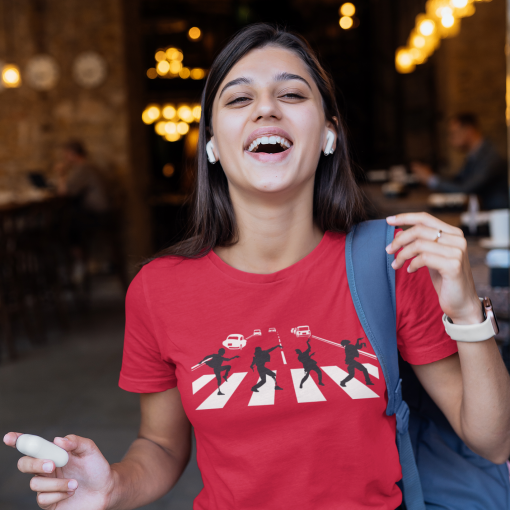 t shirt mockup featuring a female student laughing 40728 r el2