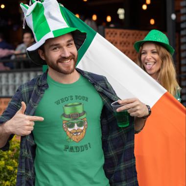 t shirt mockup featuring a joyful man celebrating st patricks day festivity 32119