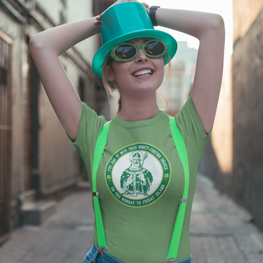 t shirt mockup of a smiling woman celebrating st patrick s with green glasses 2