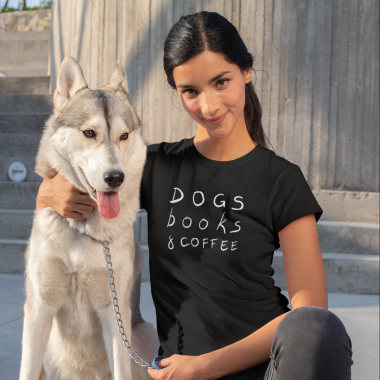 t shirt mockup of a woman posing with her dog 30658