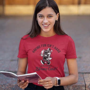 t shirt mockup of a young woman reading on a staircase 40714 r el2