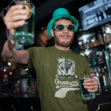 tee mockup of a man drinking a beer on st patrick s day 19570