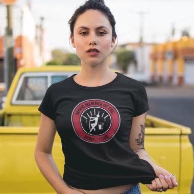 young woman wearing zero club funny tshirt